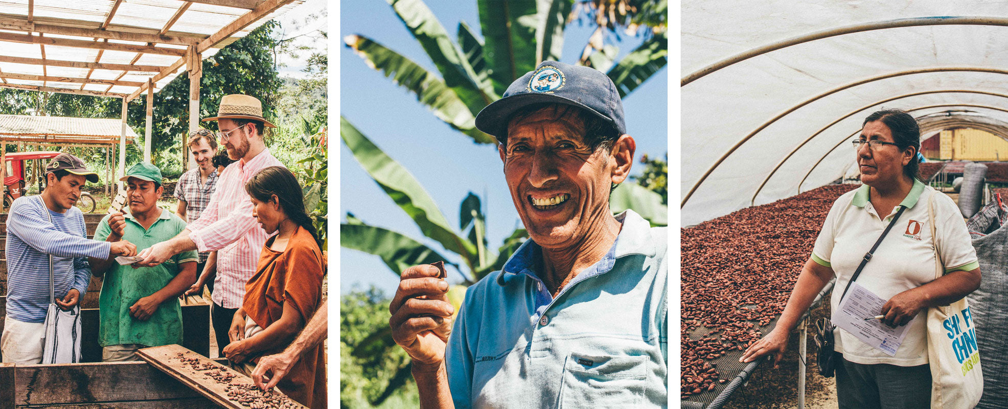 Raaka's Transparent Trade sourcing model. Head Chocolate Maker and co-founder Nate Hodge sharing chocolate with cocoa growers and producers in Peru. Baleriamo B'ordora Muñoz', a cacao farmer in Peru, enjoying a Raaka Chocolate bar. A portrait Esperanza Dionisio, cooperative director of CAC Pangoa.
