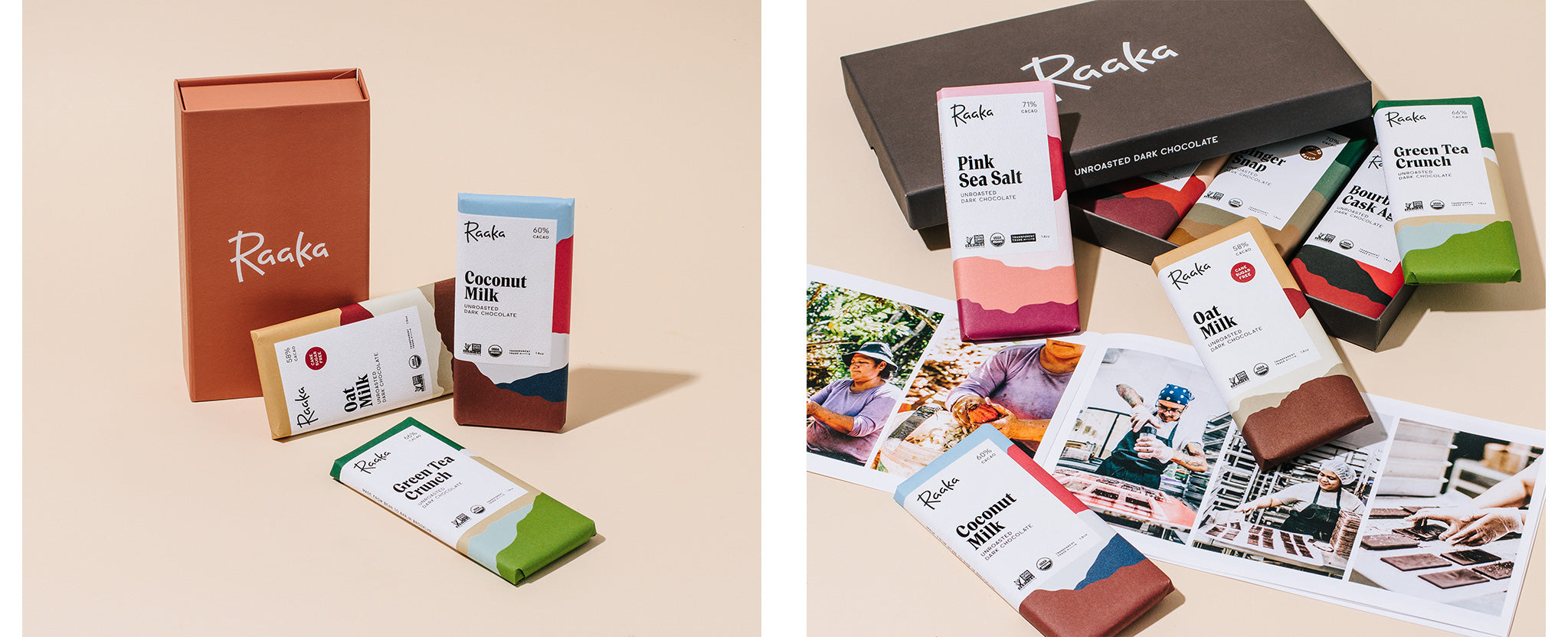 Raaka Three Bar Gift Pack and Chocolate Library Box with eight chocolate bars and a booklet