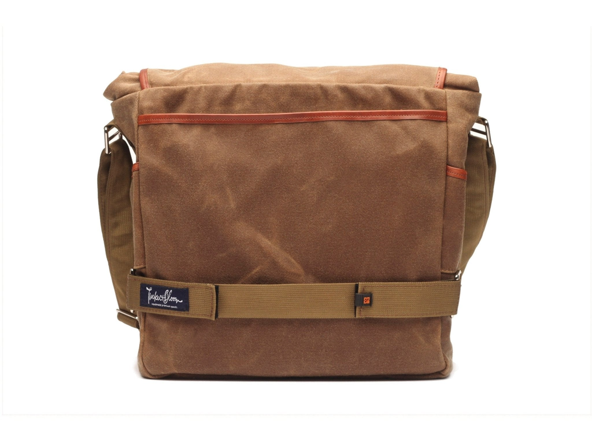 North To South Messenger Bag with waxed canvas and leather trim ... df65bff66a5cd