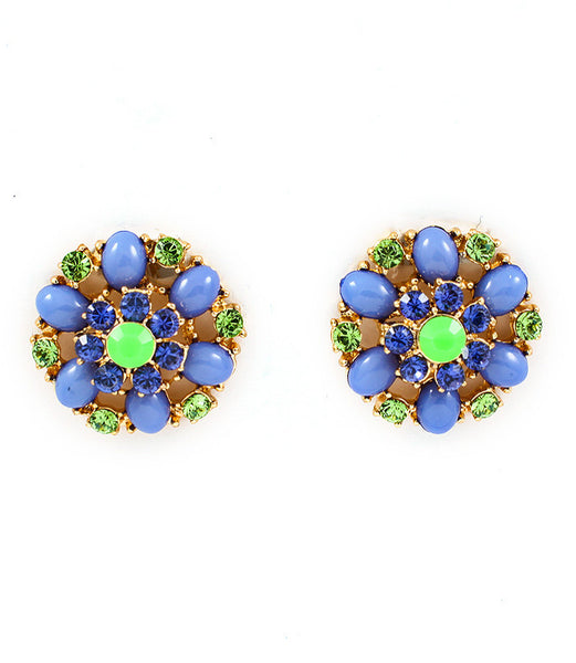Blue Flower Statement Earrings