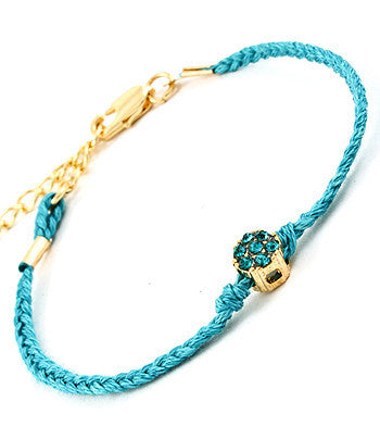 Teal Gem Charmed String Bracelet