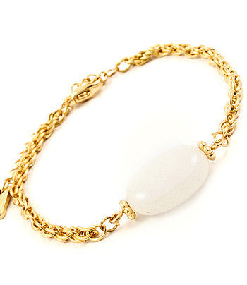 Gold & White Stone Accented Chain Bracelet