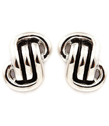 Woven Metal Post Clip-on Earrings