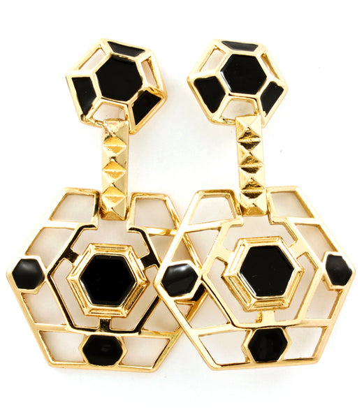 Black and Gold Hexagon Earrings