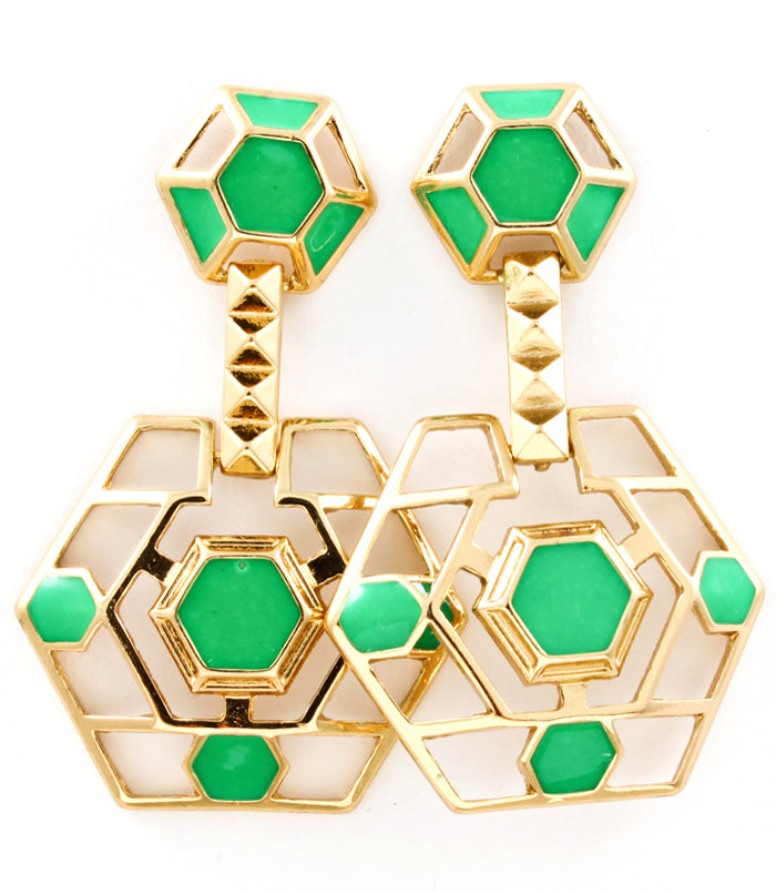 Green and Gold Hexagon Earrings