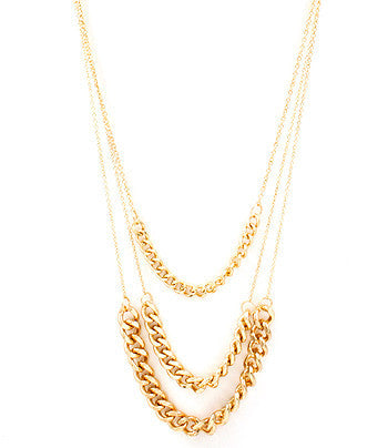 Gold Long Multi-Strand Chain Necklace
