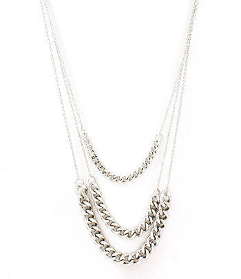 Silver Long Multi-Strand Chain Necklace