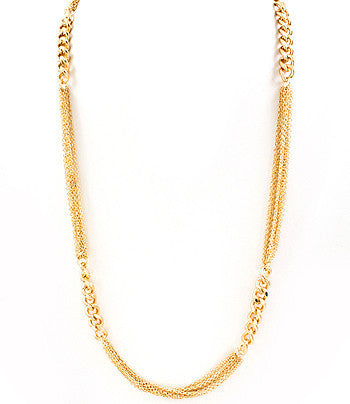 Gold Long Interchanging Chain Necklace
