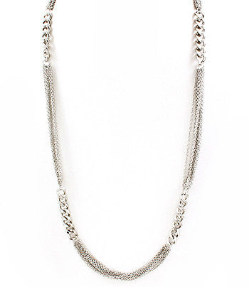 Silver Long Interchanging Chain Necklace