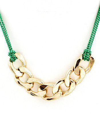 Green String and Chain Long Necklace