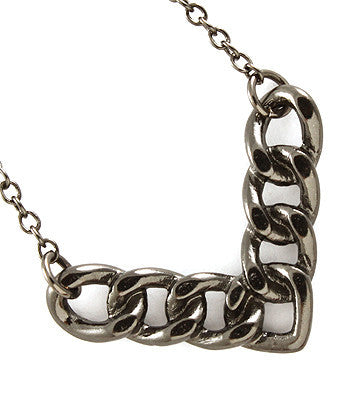 Dark Silver Arrowed Chain Link Necklace