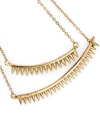 Gold Spiked Multi-Roped Necklace