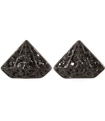 Black Mini Gem Studded Pyramid Posts