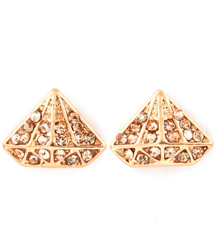 Gold& Peach Mini Gem Studded Pyramid Posts