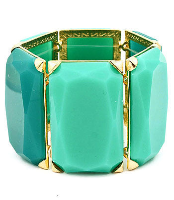 Aqua and Turquoise colored Rectangle Stone Bracelet