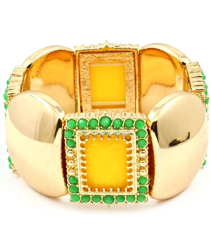 Yellow and Green Segmented Bracelet