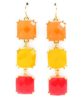 Multi-color (orange, yellow, pink) Cascading Square Drop Earrings