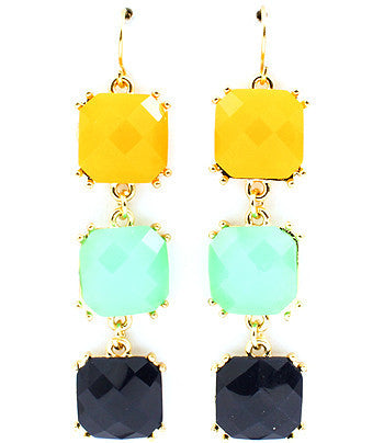 Multi-color (yellow, turquoise, navy) Cascading Square Drop Earrings
