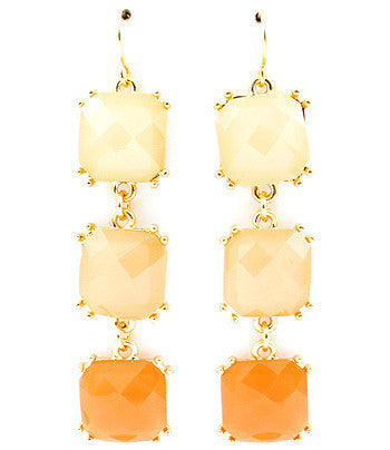 Multi-color (cream, peach, coral) Cascading Square Drop Earrings