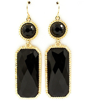 Black Acrylic finished stones fall from fish hook earring base.
