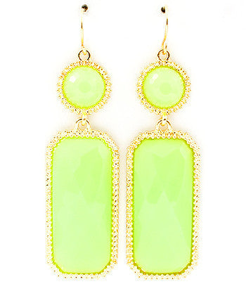 Lime Acrylic finished stones fall from fish hook earring base.