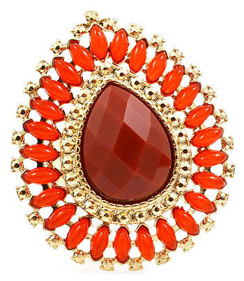 Red Orange Tear Drop Cocktail Ring