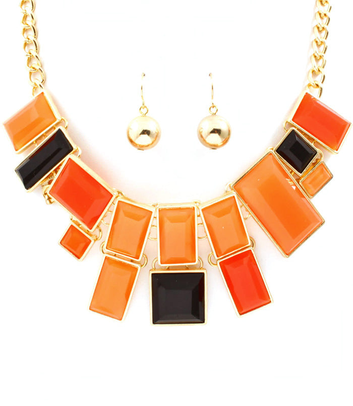 Orange and Brown Mosaic Bib Necklace