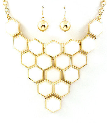 White Beehive Bib Necklace
