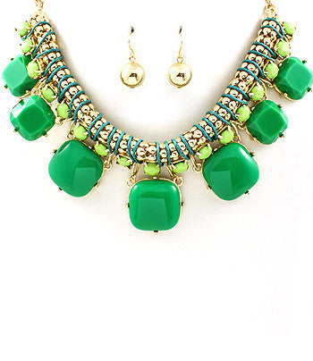 Green Graduated Square Bib Necklace