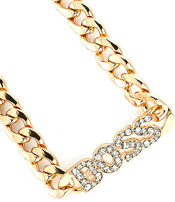 Gold Boss Chain Link Necklace