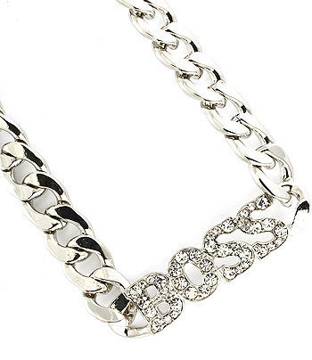 Silver Boss Chain Link Necklace