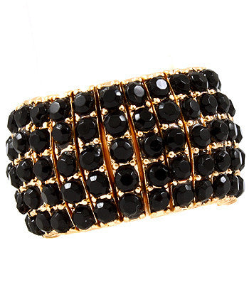 Black Stretchable Ring touting mini acrylic finished prong set stones