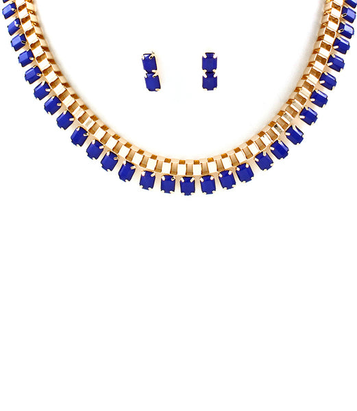 Blue Neon Pop Box Chain Necklace