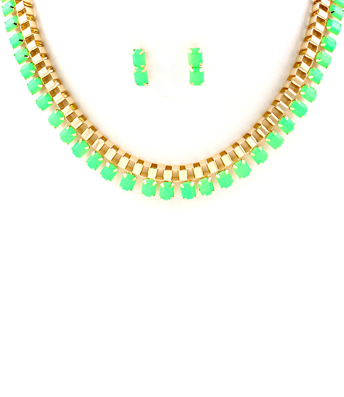 Green Neon Pop Box Chain Necklace