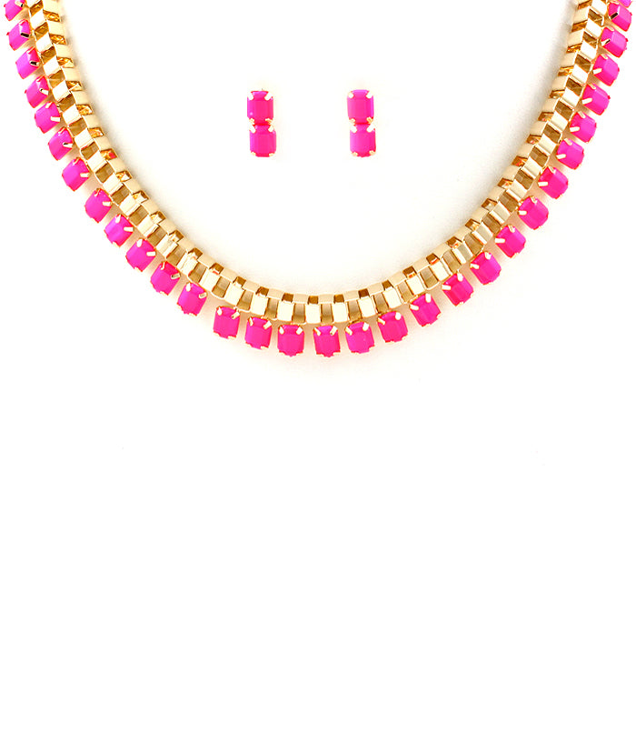 Pink Neon Pop Box Chain Necklace