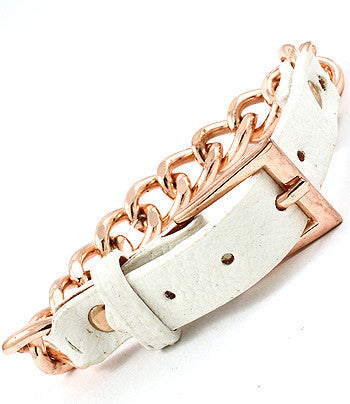 White Leather and Link Buckle Bracelet
