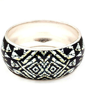 Black and White Aztec Bangle Bracelet