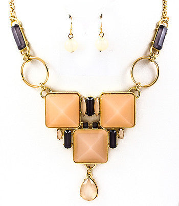 Square Jeweled Bib Necklace