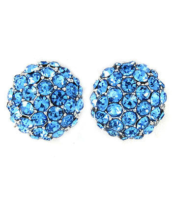 Blue Pave Set Post Earrings