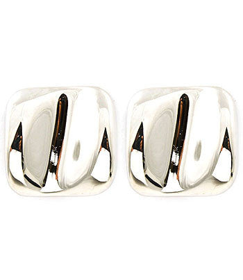 Silver square stud clip-on earrings that feature a waved metal design