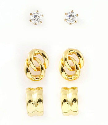 Gold 3-Pair Stud Set