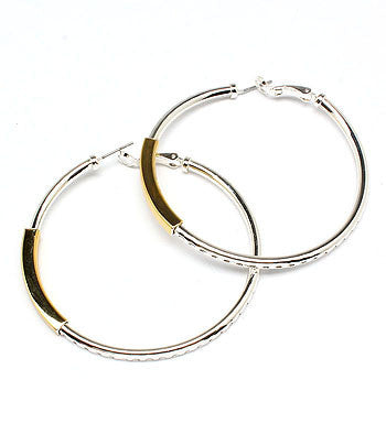 Two Toned Silver Hoops