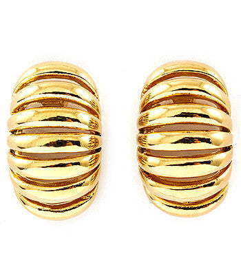 Gold Ribbed Earrings