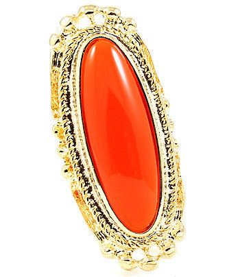 Red Orange Baroque Ring