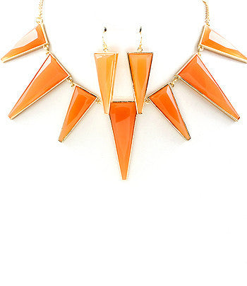 Orange Spike Bib Necklace