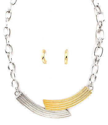 Two-Toned Chain Collar Necklace