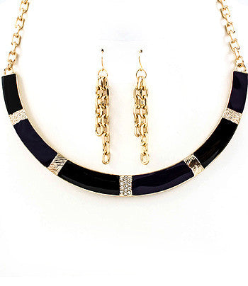 Purple and Black Stripe Collar Necklace