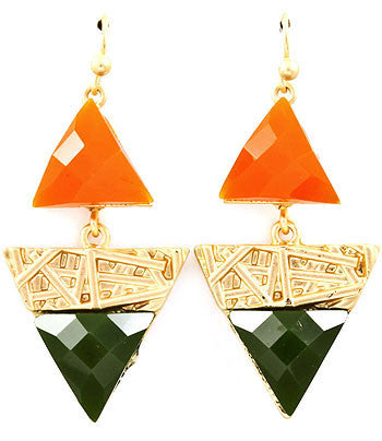 Green and Orange Fish Hook Drop Earrings