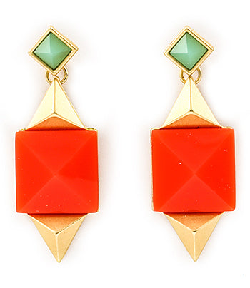 Coral Geometric Retro Drop Earrings