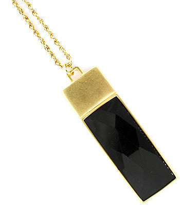 Black Rectangle Pendant Necklace